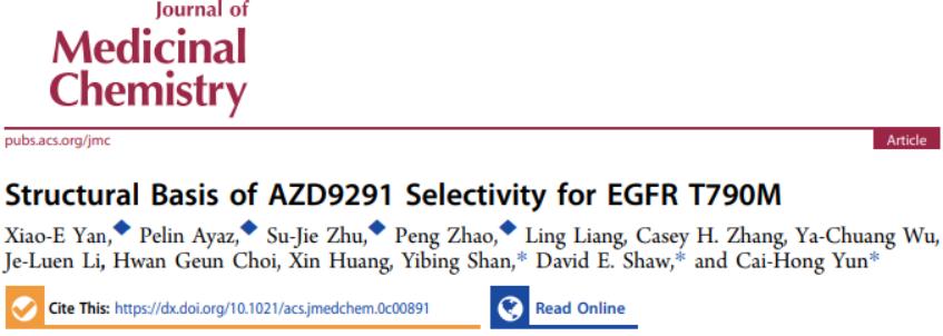 JMC   DE Shaw与北京大学通过MD模拟揭示EGFR抑制剂奥西替尼的选择性机制