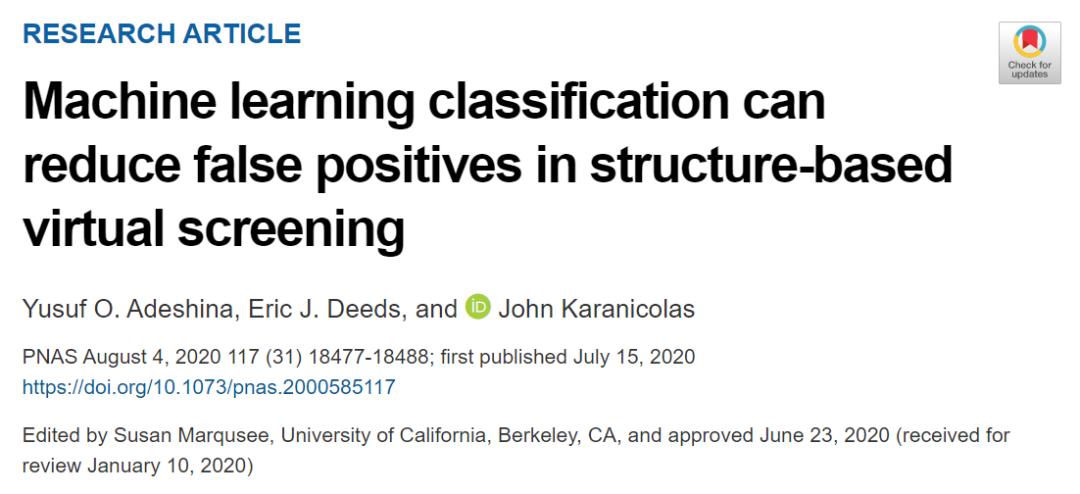 PNAS | 如何降低虚拟筛选的假阳性?机器学习