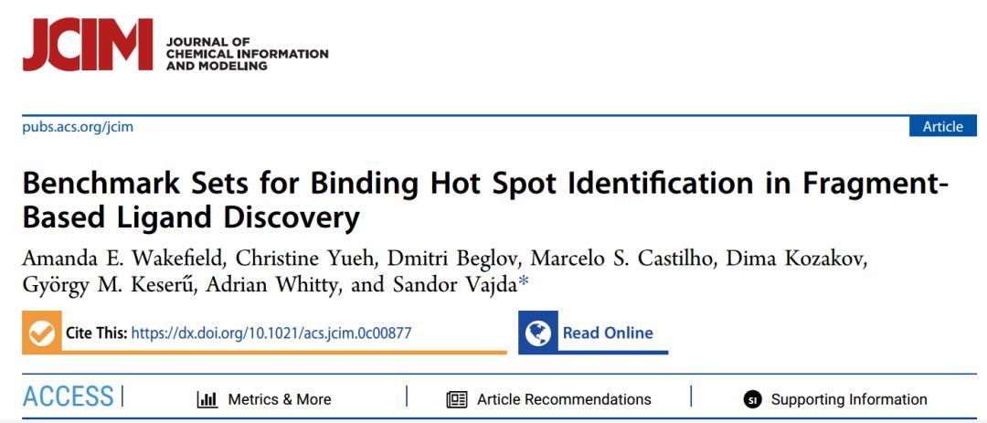 JCIM | 波士顿大学公布热点残基(hot spot)发现的基准数据集