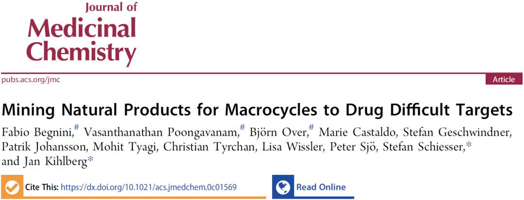 JMC | 如何发现难以药物靶向的靶标的先导化合物——大环类天然产物的发现