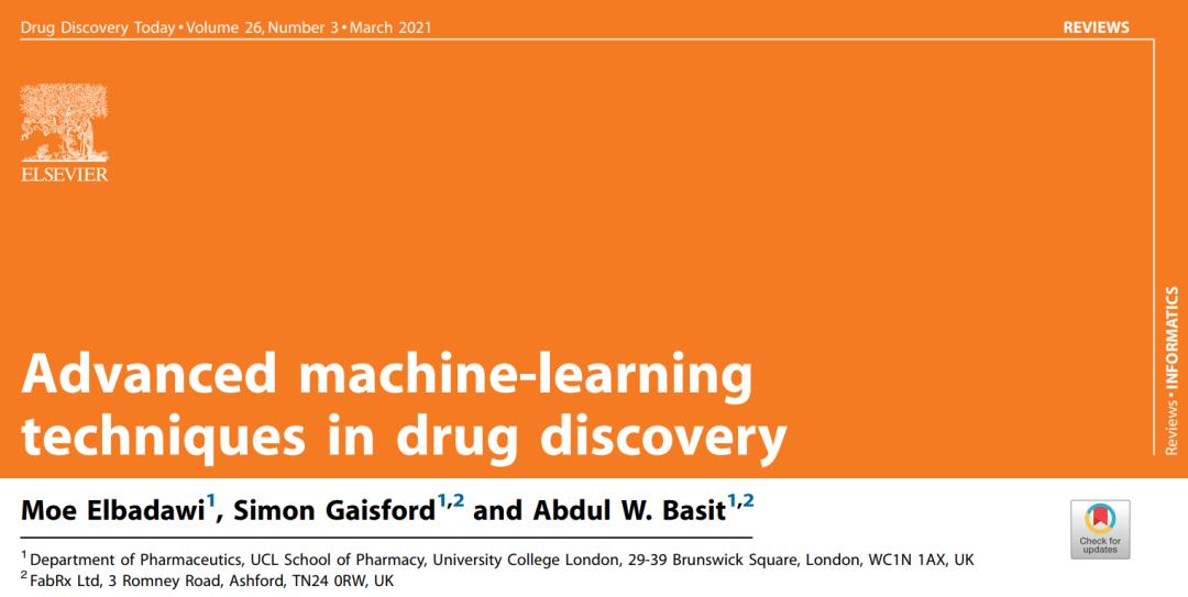 Drug Discovery Toady | 药物发现中的先进机器学习技术