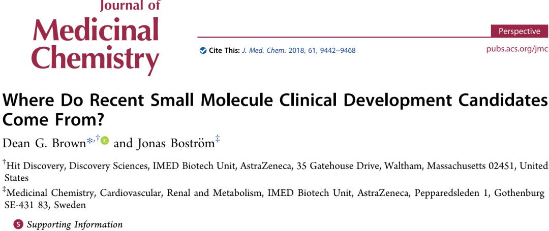 JMC | 六类先导化合物(临床前候选小分子药物)生成策略的对比