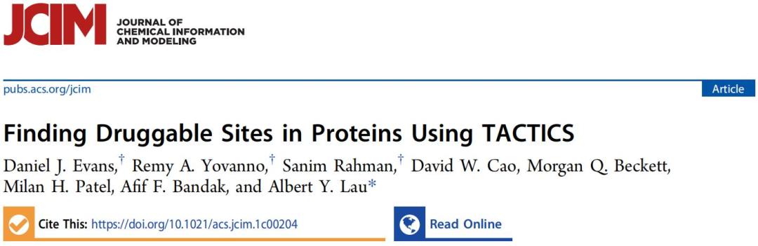 JCIM   寻找蛋白中的可药位点?用TACTICS!