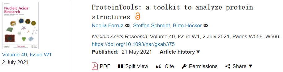 NAR | ProteinTools:蛋白结构分析竟如此简单